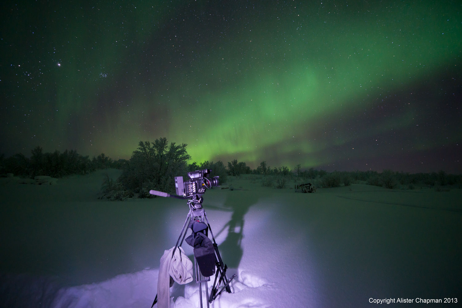 A very cold Sony PMW-F5 camera shooting video of the Aurora.
