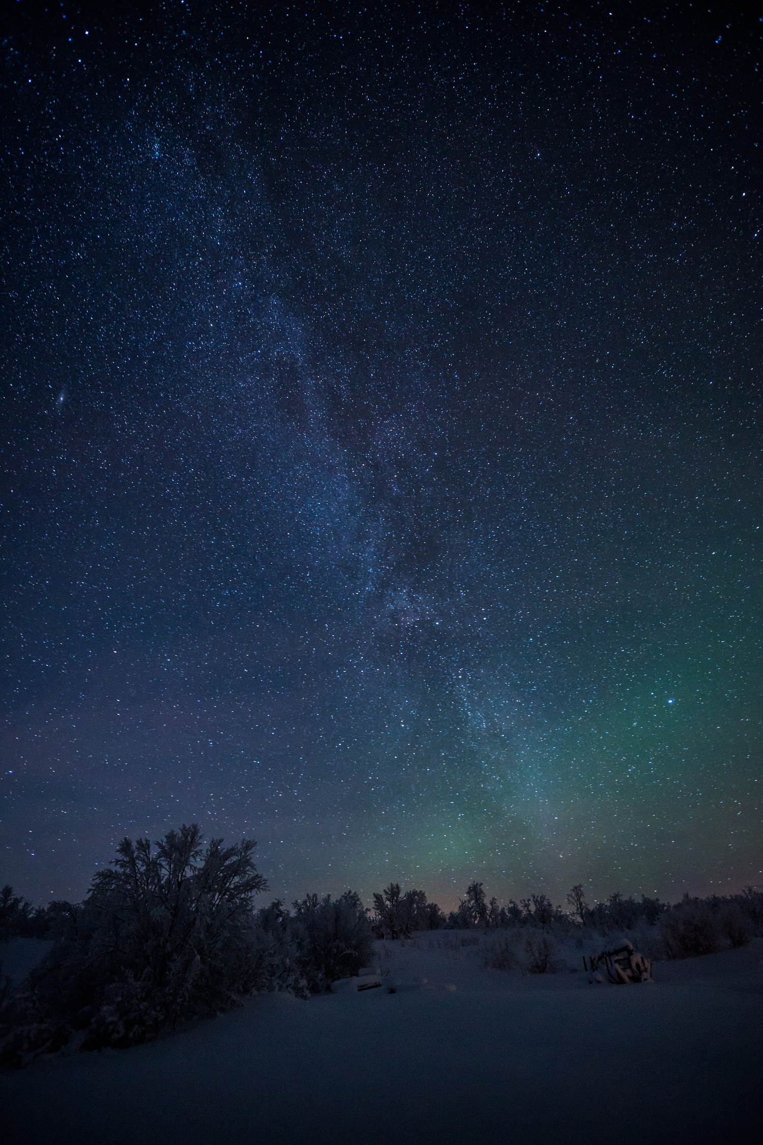 One for the star gazers. The Milky Way, crystal clear in the pitch black skies with a little bit of Aurora below.