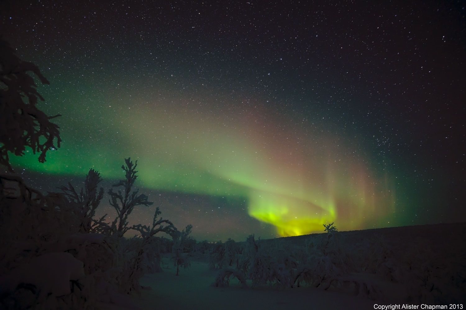 Swirling, whirling rainbow of Northern Lights.