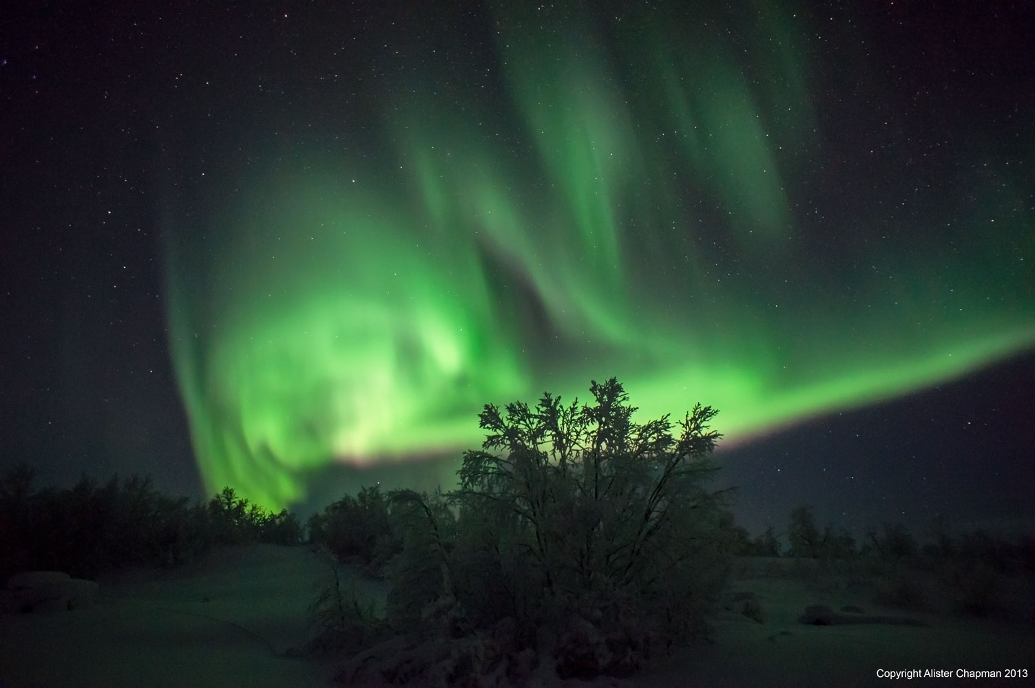 Really bright Aurora showing strong orange and yellow colours.