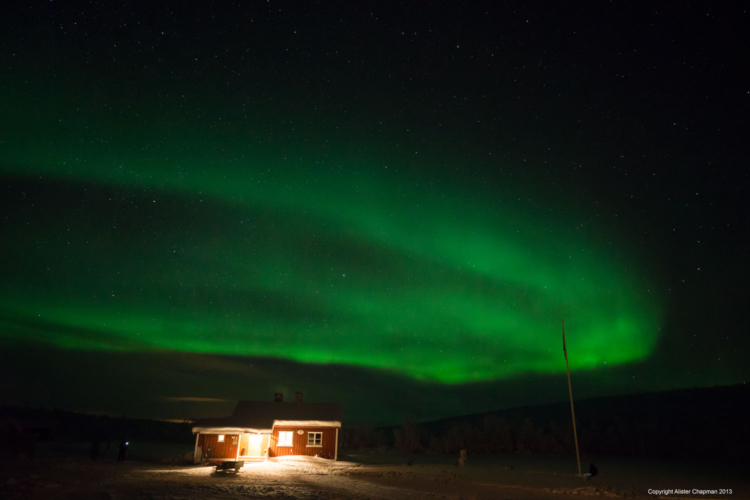 This is the cabin where we sleep, but who wants to sleep when there is the Aurora to watch!